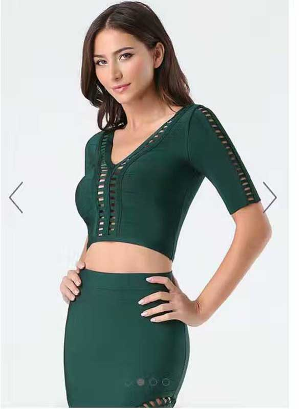 bc899455873d green red black bandage dress women bodycon dresses two 2 piece ...