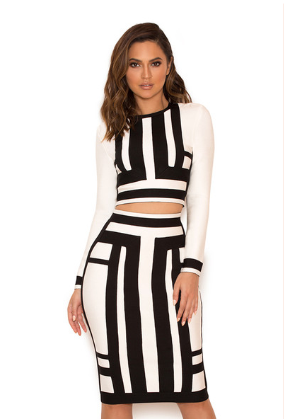 Womens Two Piece Long Sleeve Black And White Winter Formal Dresses