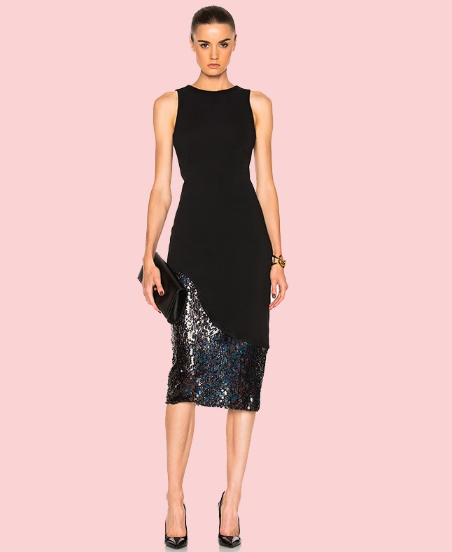 Spring Fashion Collection Black Midi Dress For Formal Occasion