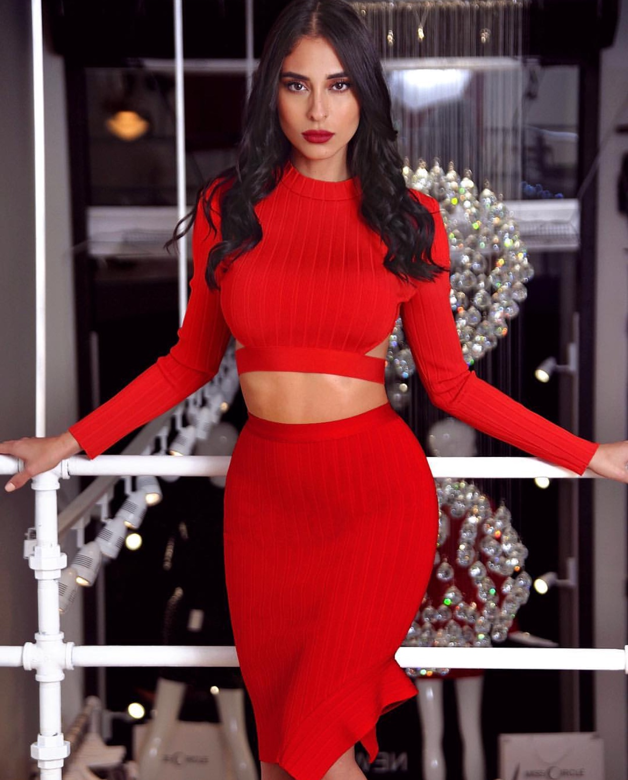 c780909d8 new fashion high quality red 2 piece set bandage with long sleeve party  dress celebrity women wholesales china online
