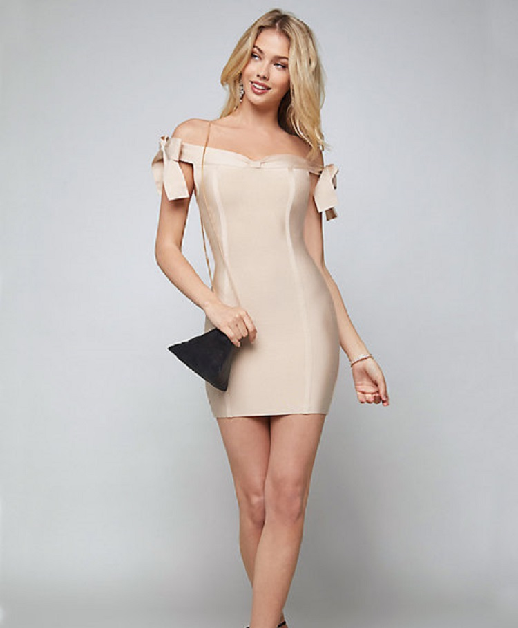 4266dc3b9605 latest fashion hot selling beige women mature bandage off shoulder summer  short dress outfit clothing wholesale online
