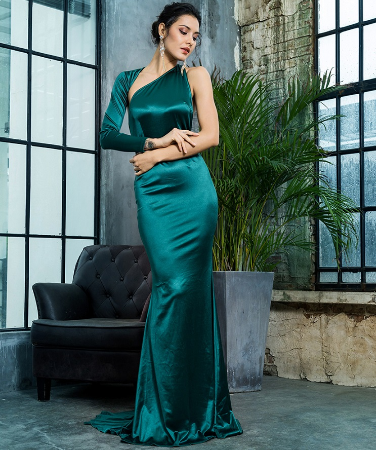 5f59ee168 new fashion elegant green satin long prom dress for women party ...